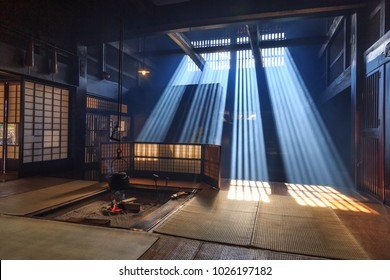 Tsumago, Japan.11 17 2017. Traditional japanese fireplace, with ray of sun in smoke, in tsumago, japan.