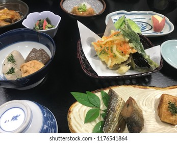 Tsumago, Nagano Prefecture/Japan - July 3, 2018:  An assortment of small plate dishes (kaiseki) in a ryokan (traditional Japanese inn)