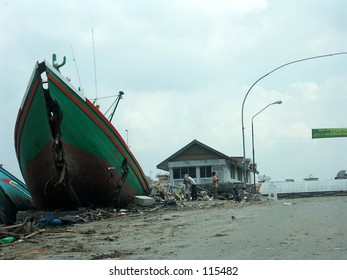 Tsunami in Aceh Indonesia: Boat on the road