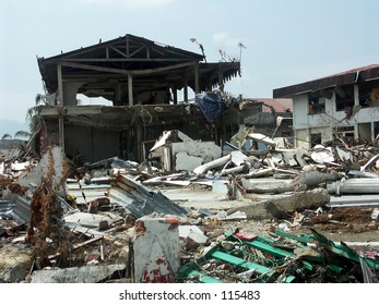 Tsunami in Aceh Indonesia: Ruin of houses after hit by the tsunami