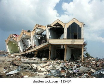 Tsunami in Aceh Indonesia: Ruin of houses after hit the tsunami