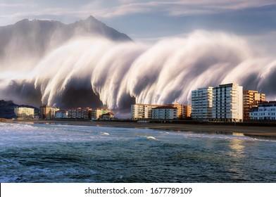 tsunami with a big wave crashing on coast houses