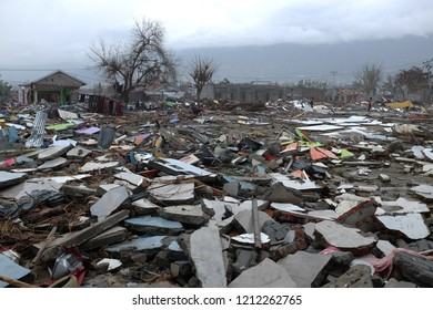 Tsunami effect at Talise Beach in Palu, On 28 September 2018, a shallow, large earthquake struck in the neck of the Indonesia, with its epicentre located in the mountainous Donggala, Central Sulawesi