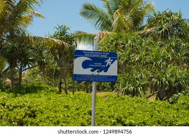 Tsunami evacuation route signs are now displayed across Vanuatu. In March 2015 Cyclone Pam devastated the islands, leaving much destruction and sixteen deaths.