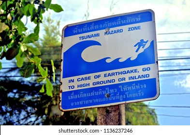 Tsunami Hazard Zone sign in Ao Nang