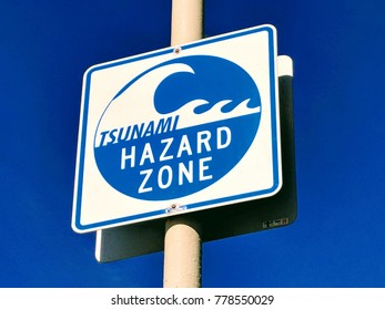 Tsunami Hazard Zone sign Near Beach City.