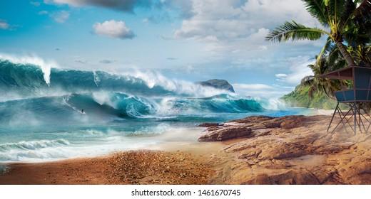 Tsunami surfing on beautiful beach