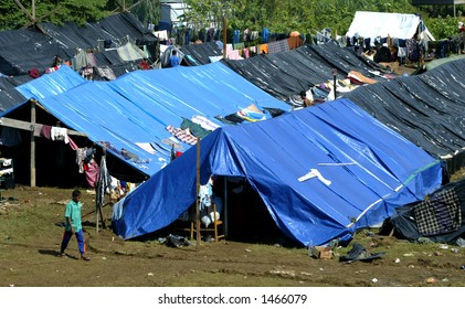 Tsunami survivor makeshift refugee camp, Aceh, Indonesia 2005
