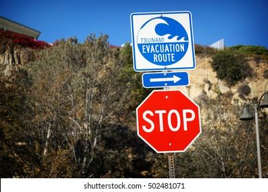 tsunami warning sign in dana point california