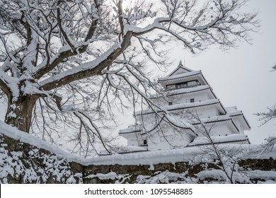 Tsuruga castle in Fukushima, Japan, Covered with snow in winter