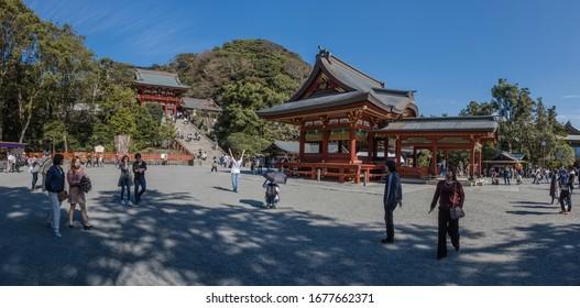 TSURUGAOKA HACHIMAN-GU, KAMAKURA, JAPAN,28th OCTOBER 2019, One of many shrines around Kamakura, established in the 11th century, the buildings were errected in 1828 in the EDO style.