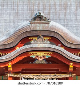 Tsurugaoka Hachimangu Shinto shrine Maiden hall roof ridge detail. Most important Shinto shrine in the city of Kamakura, Kanagawa Prefecture, Japan