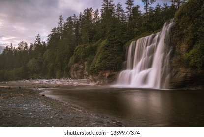 Tsusiat Falls is a beautiful waterfall on the West Coast Trail in British Columbia, Canada.