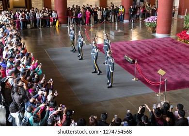 TTaipei, Taiwan, Republic of China - December 23, 2018:  Changing of the guard National Sun Yat-sen Memorial Hall, Xinyi District