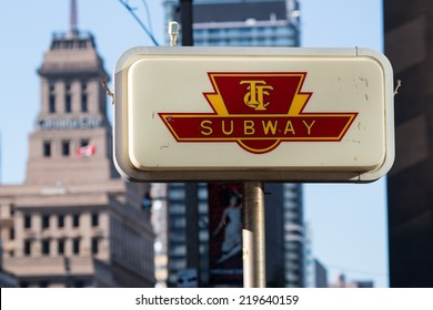 TTC Subway Sign Toronto. Sign indicating the entrance to the Toronto subway. Located on King Street in downtown, Toronto, Ontario Canada.
