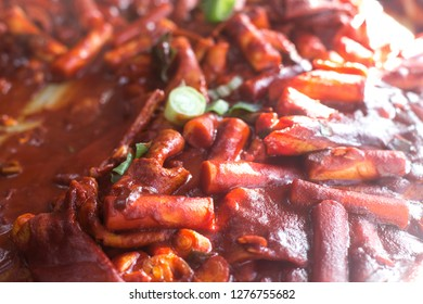 Tteokbokki, Korean spicy rice cake, is a popular street food