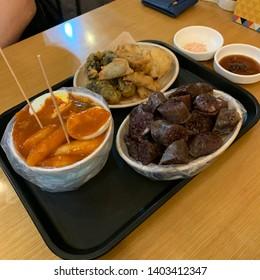 Tteokbokki, sundae, fried foods. Korean food.
