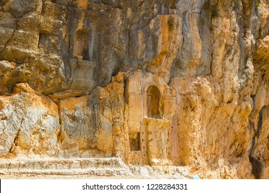 Tthe ancient heathen shrines to Pan at the Banias water gardens in Israel at the bottom of Mount Hermon in the North Golan Heights Israel