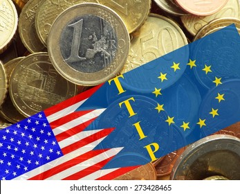 TTIP - American and European flag in front of a pile of euro coins