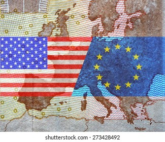 TTIP - American and European flag in front of a map of Europe.