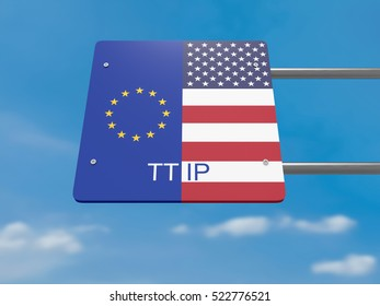 TTIP Concept: USA And EU Flag Road Sign Against A Cloudy Sky, 3d illustration