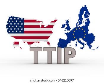 TTIP - Transatlantic trade and investment partnership concept, white background - 3d rendering