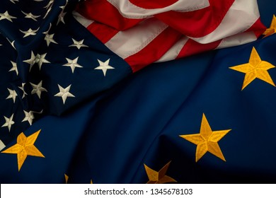 TTIP, USA and EU cooperation and Transatlantic Trade and Investment Partnership concept theme with the flags of the United states of America and the European Union