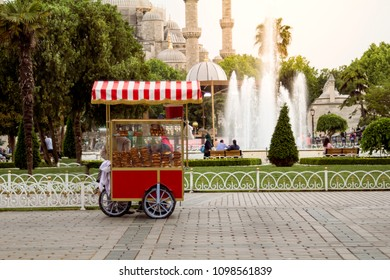 TTurkish Bagel Simit sale on nostalgia car at the square of Sultan Ahmet