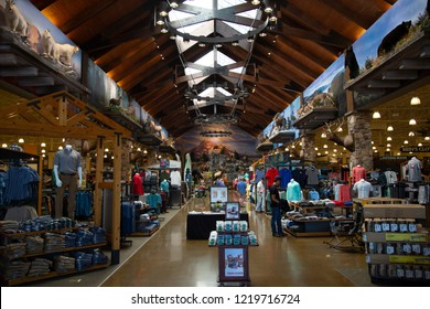 Tualatin Oregon / USA - July 21, 2018: Interior view of Cabela's outdoor sports store sales floor, merchandise, and taxidermy displays