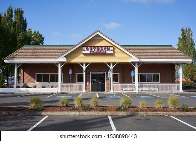 Tualatin, Oregon, USA - Oct 9, 2019: An Outback Steakhouse exterior. Outback Steakhouse is an Australian-themed American casual dining restaurant chain, serving American cuisine.