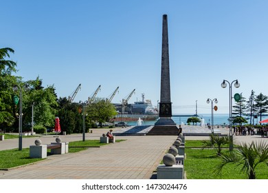 Tuapse, Russia - May 16, 2019: Tuapse, Russia - May 16, 2019: Granite stele with fountains on pedestrian-only street, on square of October Revolution. Tuapse town is resort town wih big seaport