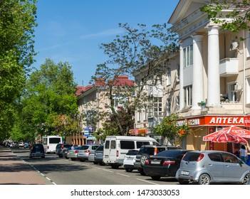 Tuapse, Russia - May 16, 2019: Beautiful shady central Karl Marx street inTuapse city. Tuapse - resort city on the Black Sea in Krasnodar region