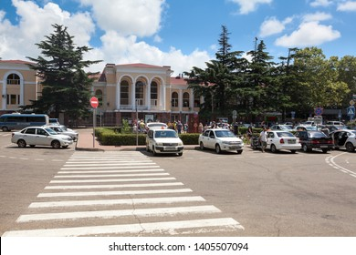 TUAPSE, RUSSIA-CIRCA JUL, 2018: Railway station forecourt is in front of terminal station at summer season. Tuapse is a sea port and resort town in Krasnodar region