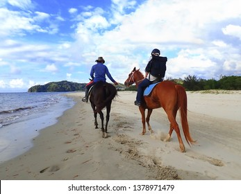 Tuaran, Sabah/ Malaysia - 04/20/2019: Horse riding activity leisure time on sunny day.
