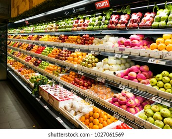 Tuaran Sabah Malaysia, 09 February 2018, A variety of fruits from within and outside the country are displayed on the sales racks in the fresh market of 99 Hypermart Kota Kinabalu.
