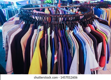 Tuaran Sabah Malaysia - Jul 21, 2019: Used clothing at street market in Tuaran Sabah. Used clothes mostly imported from country like Japan and sold at cheap price.