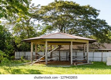 Tuaran, Sabah, Malaysia - November 28 2018: Horse pavilion at the Royal Sabah Turf Club (malay: Kelab Lumba Kuda Diraja Sabah)