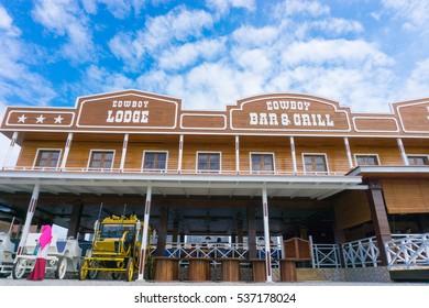 TUARAN,SABAH,MALAYSIA-December 15,2016: Sabandar Leisure Rides, the new places of interest for tourist at Tuaran town.The design of building like a cowboy town.