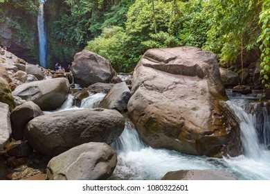 Tuasan Falls Camiguin Philippines April 24, 2018 The river below Tuasan Falls, showing the main fall in the background