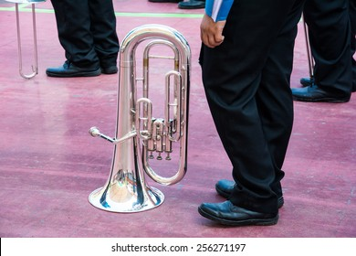 Tuba player in a marching band