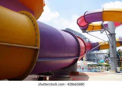 tube aquapark with swimming-pool