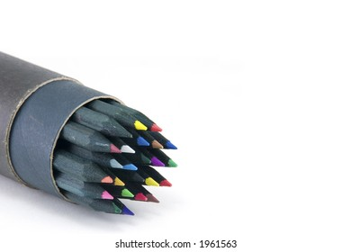 A tube of coloured pencils on white