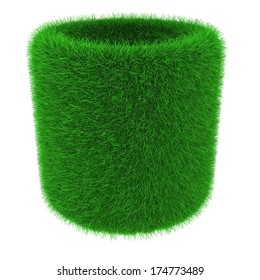 Tube object covered with grass isolated on white background
