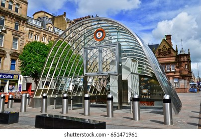 Tube station at St Enoch centre, Glasgow city centre. Glasgow, Scotland. uk May 2017