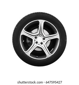 Tubeless car wheel on light alloy disc isolated on white background, frontal view