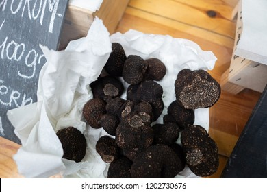 Tuber melanosporum or Perigord black truffle is a species of truffle which is one the most expensive edible mushrooms in the world. A prestigious, delicate and expensive ingredient. Seasonal Delicacy.