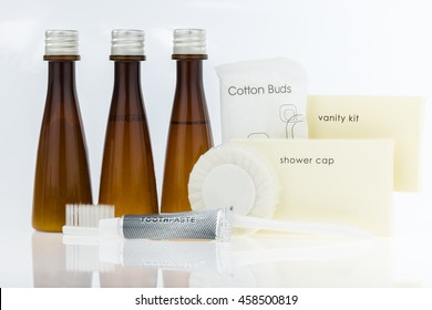 Tubes of bathroom amenity contains isolated on white background