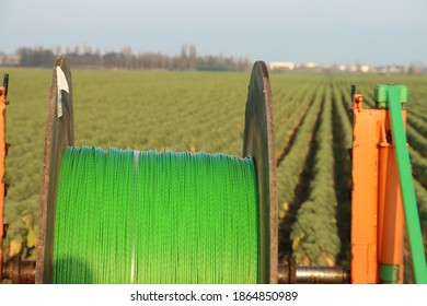 Tubes of tubes for fiber optic cables in Zevenhuizen ready to be laid in the ground in the Netherlands