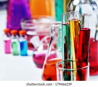 The tubes in the laboratory, soft focus
