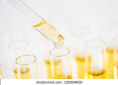 Tubes and pipette with liquids